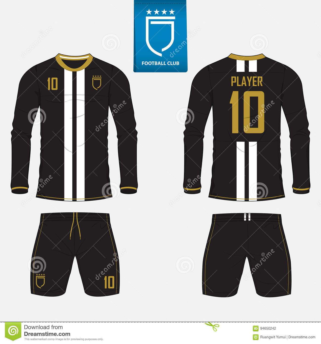 Long sleeve soccer jersey or football kit template for football club. Football  shirt mock up 8bfea5e2b
