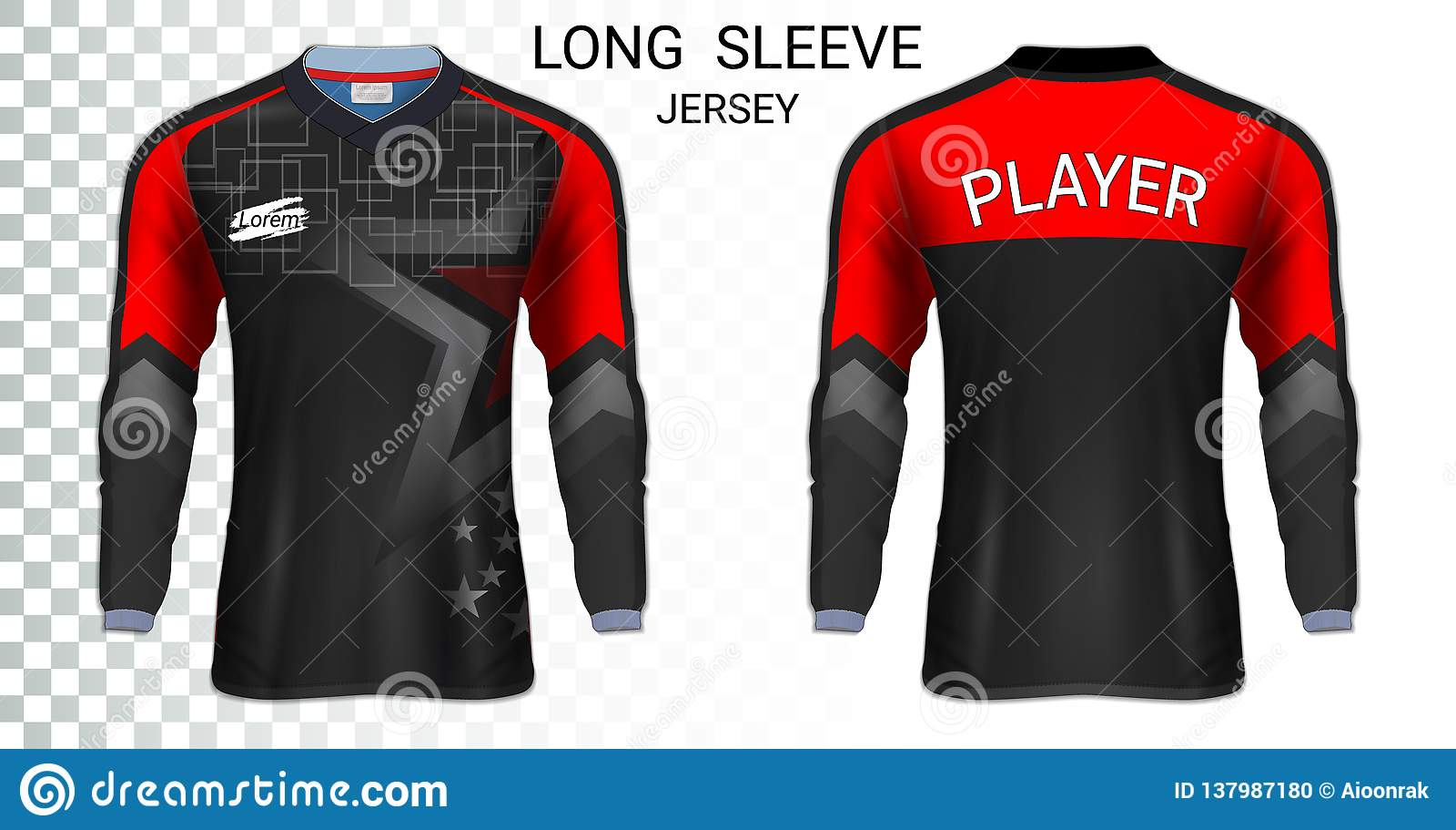 Long Sleeve Soccer Jerseys T Shirt Sport Mockup Template Stock