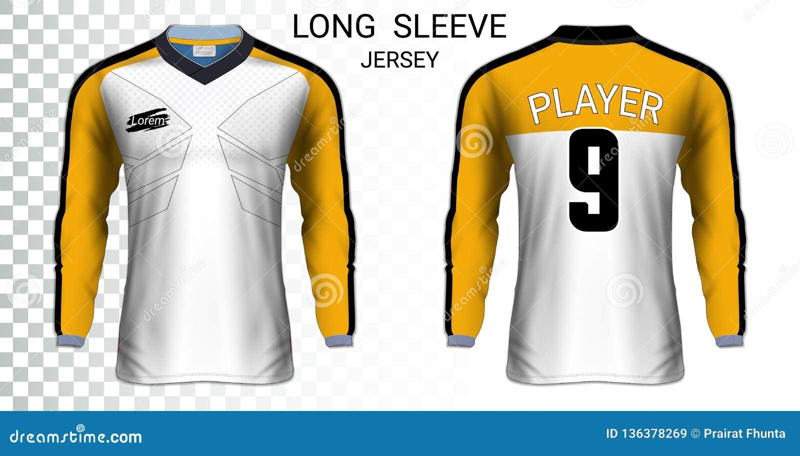 size 40 39ab2 e36f8 Long Sleeve Soccer Jerseys T-shirts Mockup Template. Stock ...