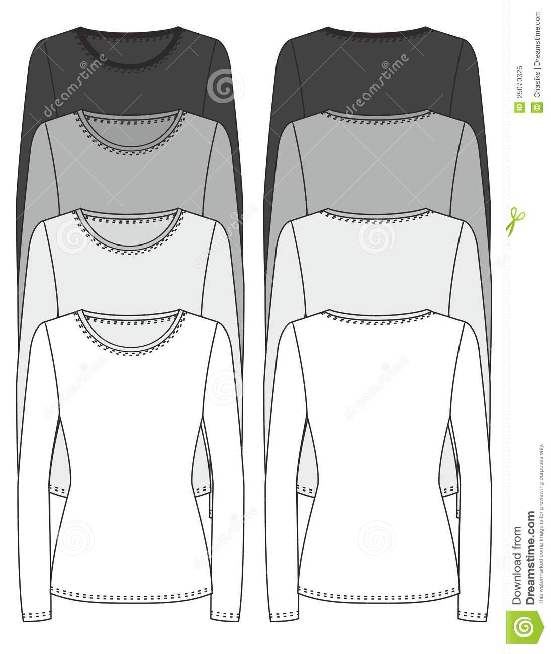 Long Sleeved T Shirt Design Template Vector Illustration