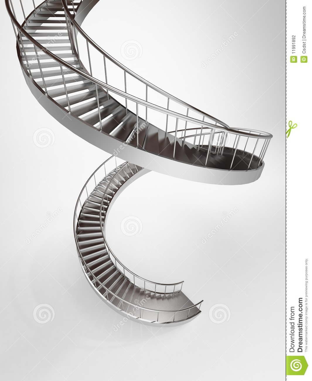 Long Spiral Stairs Stock Illustration Illustration Of