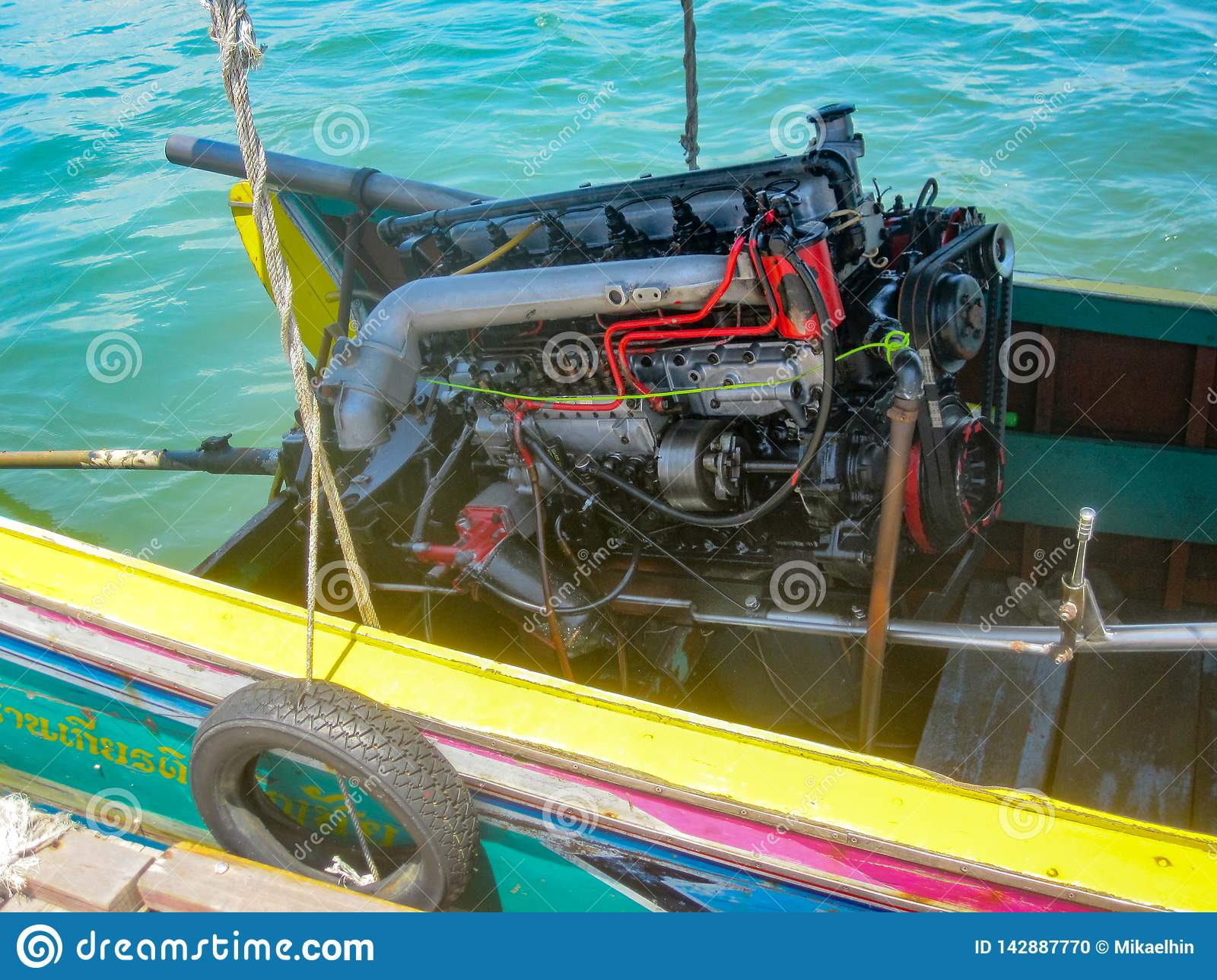 Long tail boat engine, straight-six