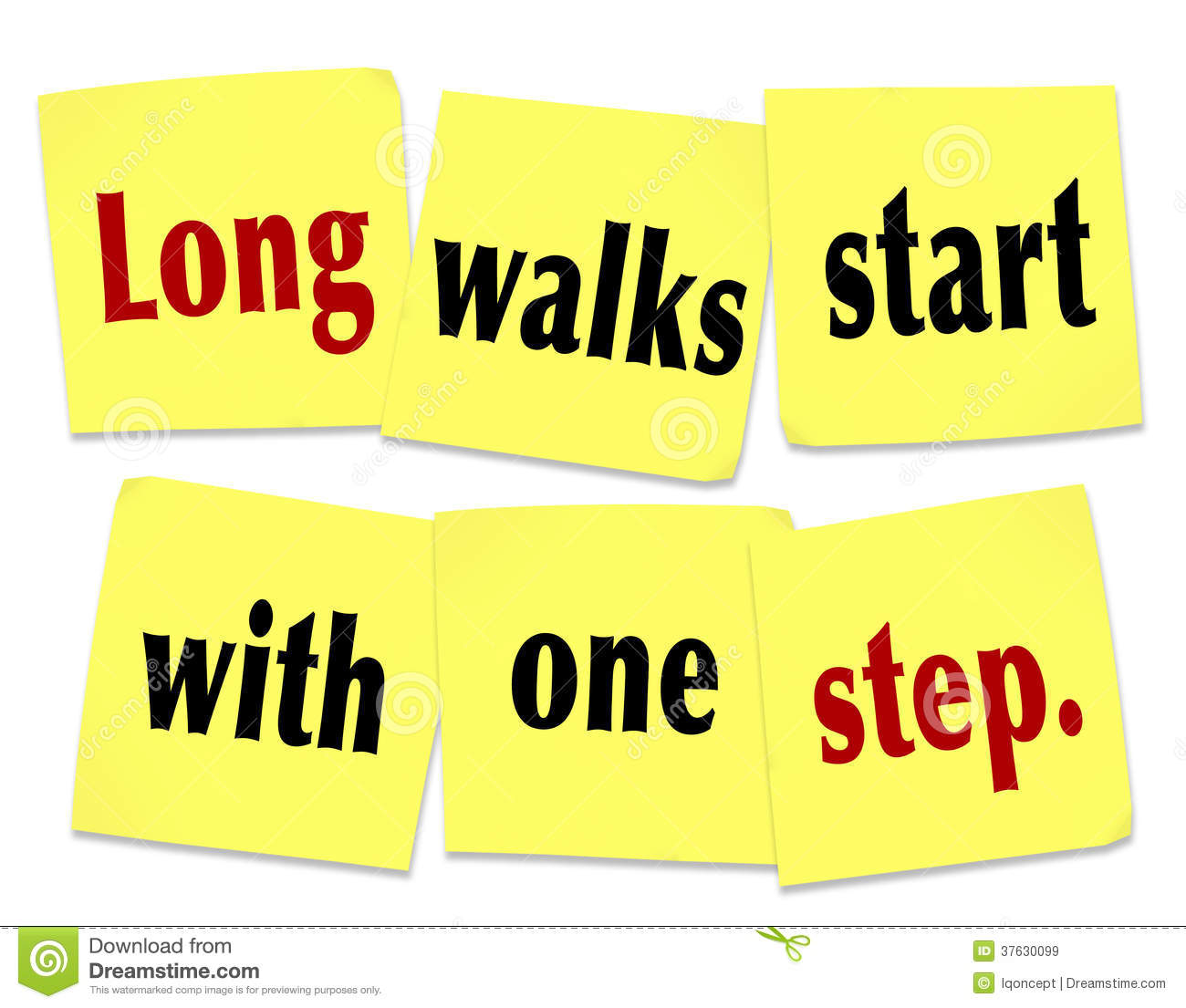 Long Walks Start With One Step Saying Quote Sticky Notes Stock