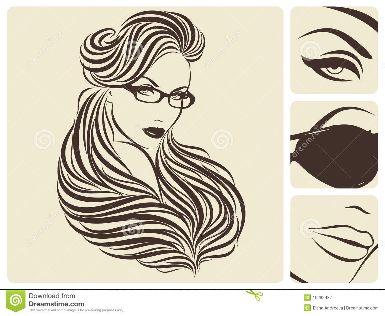 Hairstyle Vector: Long Wavy Hairstyle. Vector Illustration. Royalty Free