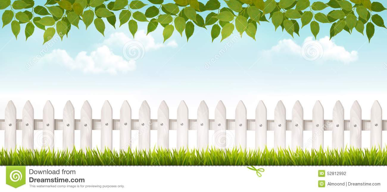 Fence png transparent images png all - Long White Fence Banner With Grass And Fence Stock Vector