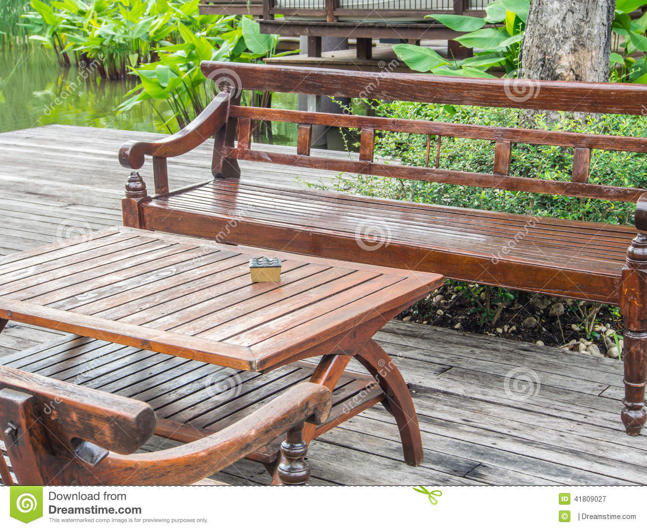 Long Wood Chairs And Table Stock Photo Image 41809027