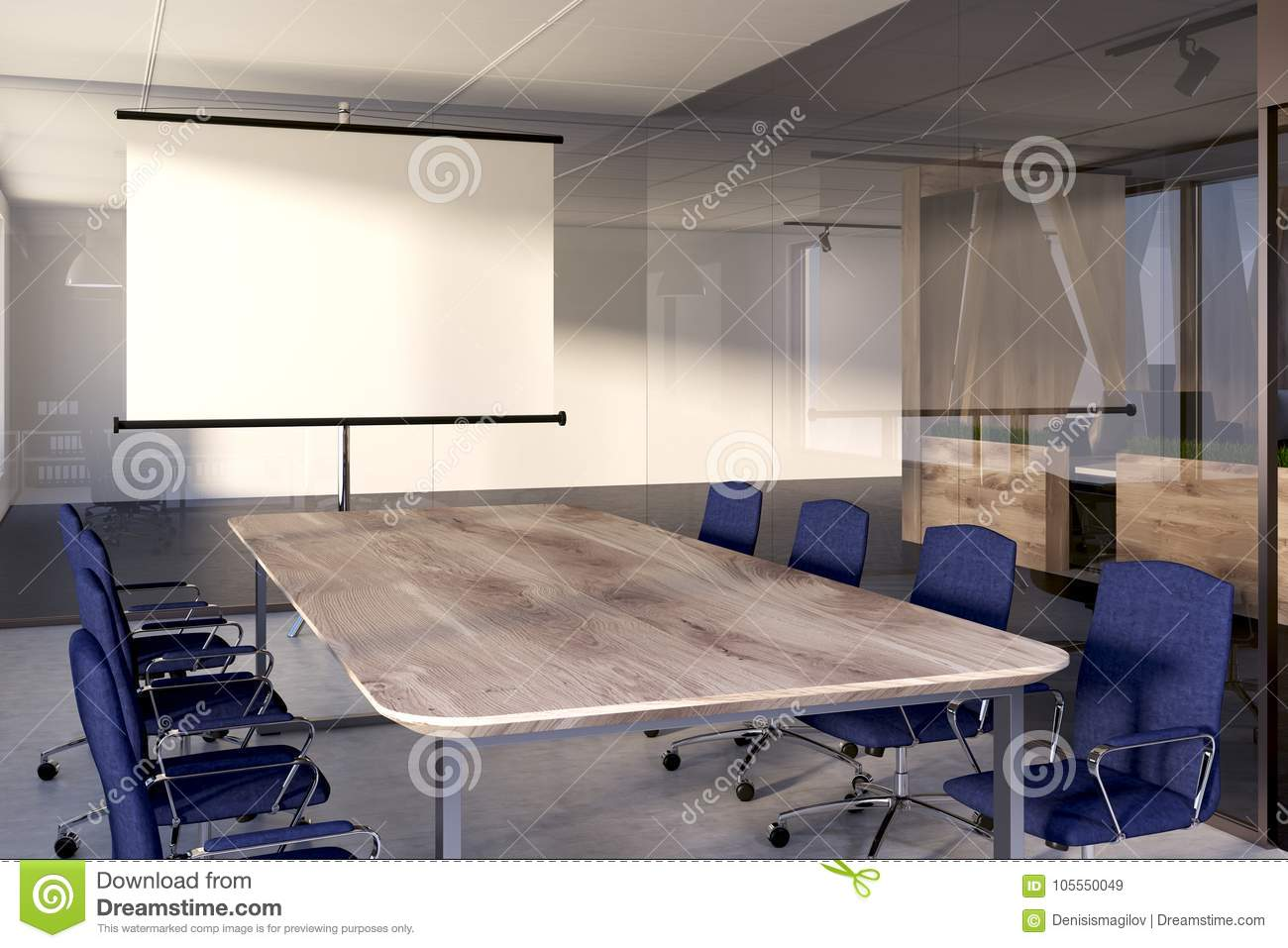 Blue Chairs Meeting Room Screen Stock Illustration Illustration - Standing conference room table