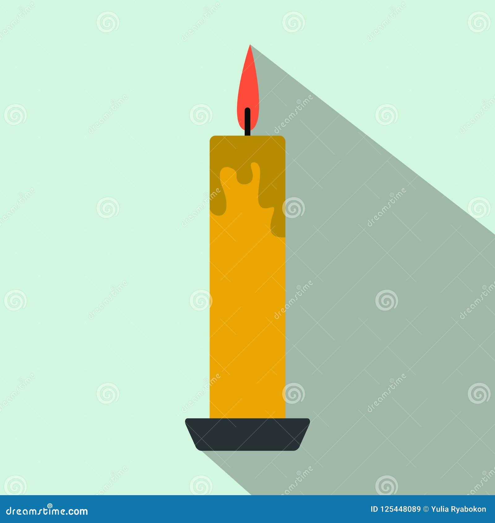 07ce06870 Long Yellow Candle Flat Icon Stock Illustration - Illustration of ...