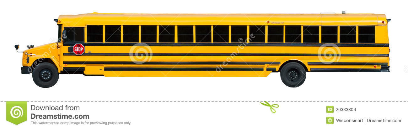 Back to school! Yellow school bus isolated on white. Vehicle is edited ...