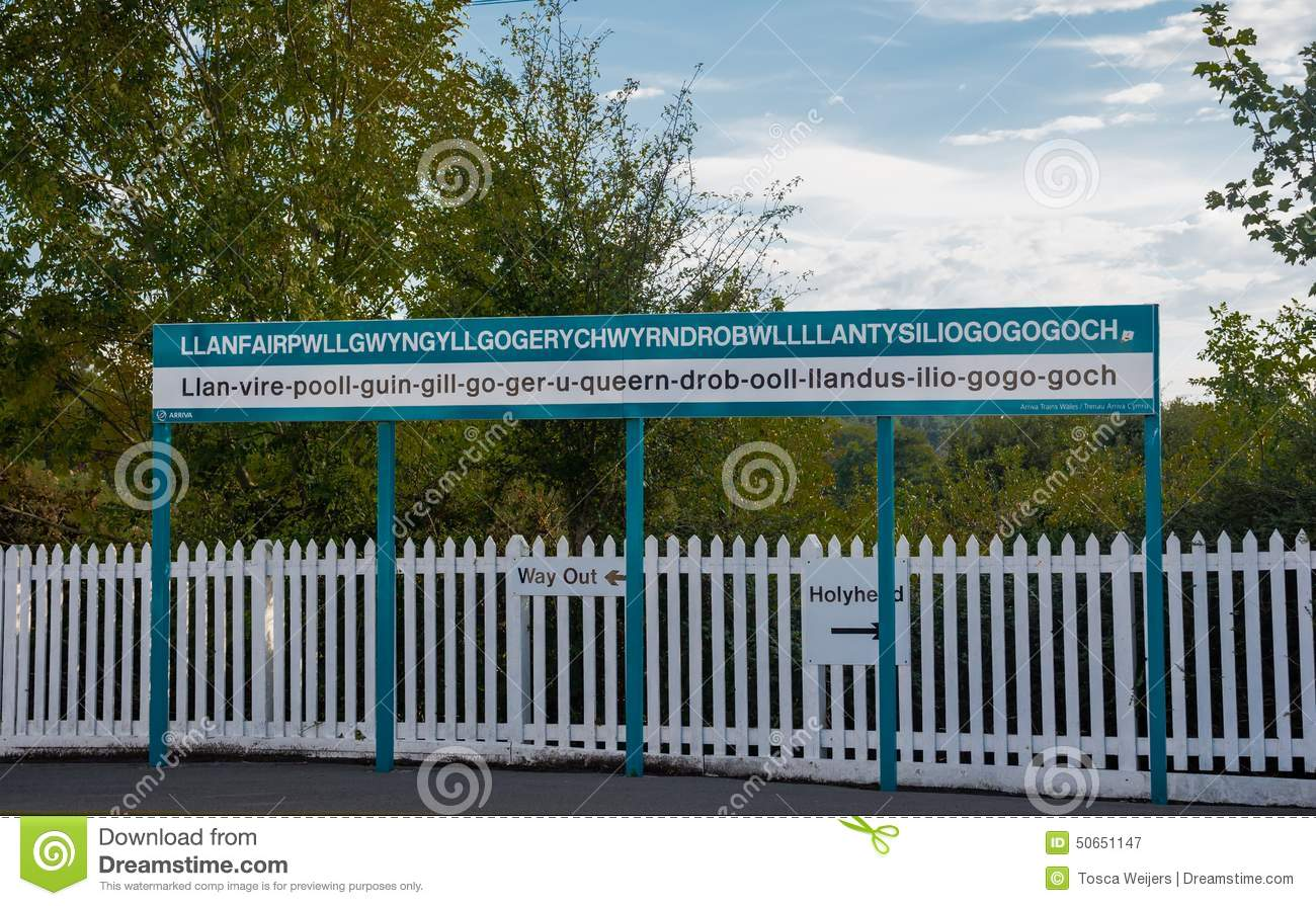 The Longest Place Name Of The Uk On A Sign Stock Photo