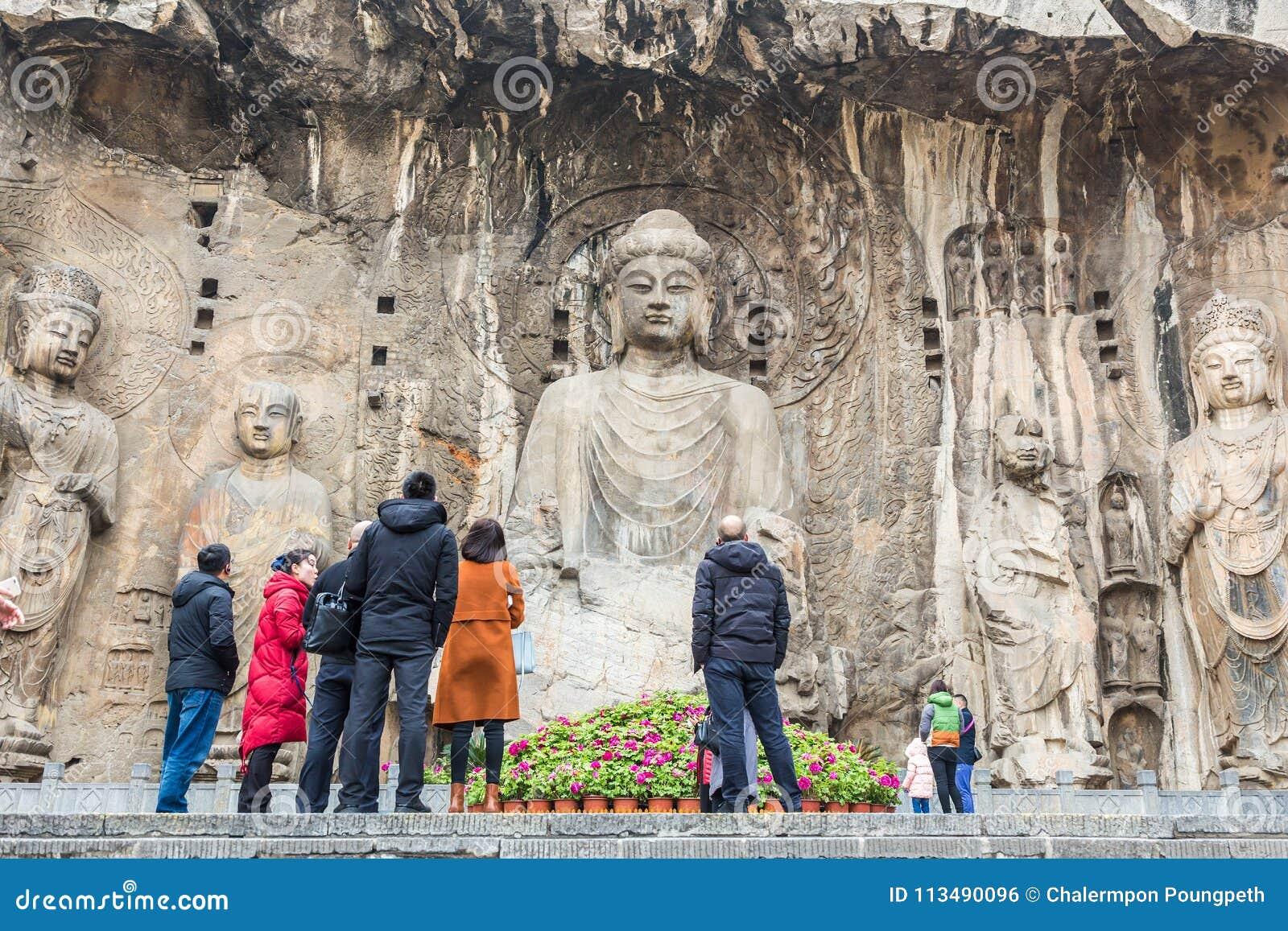 The Longmen Grottoes or Longmen Caves, famous tourist destination on Luoyang, China
