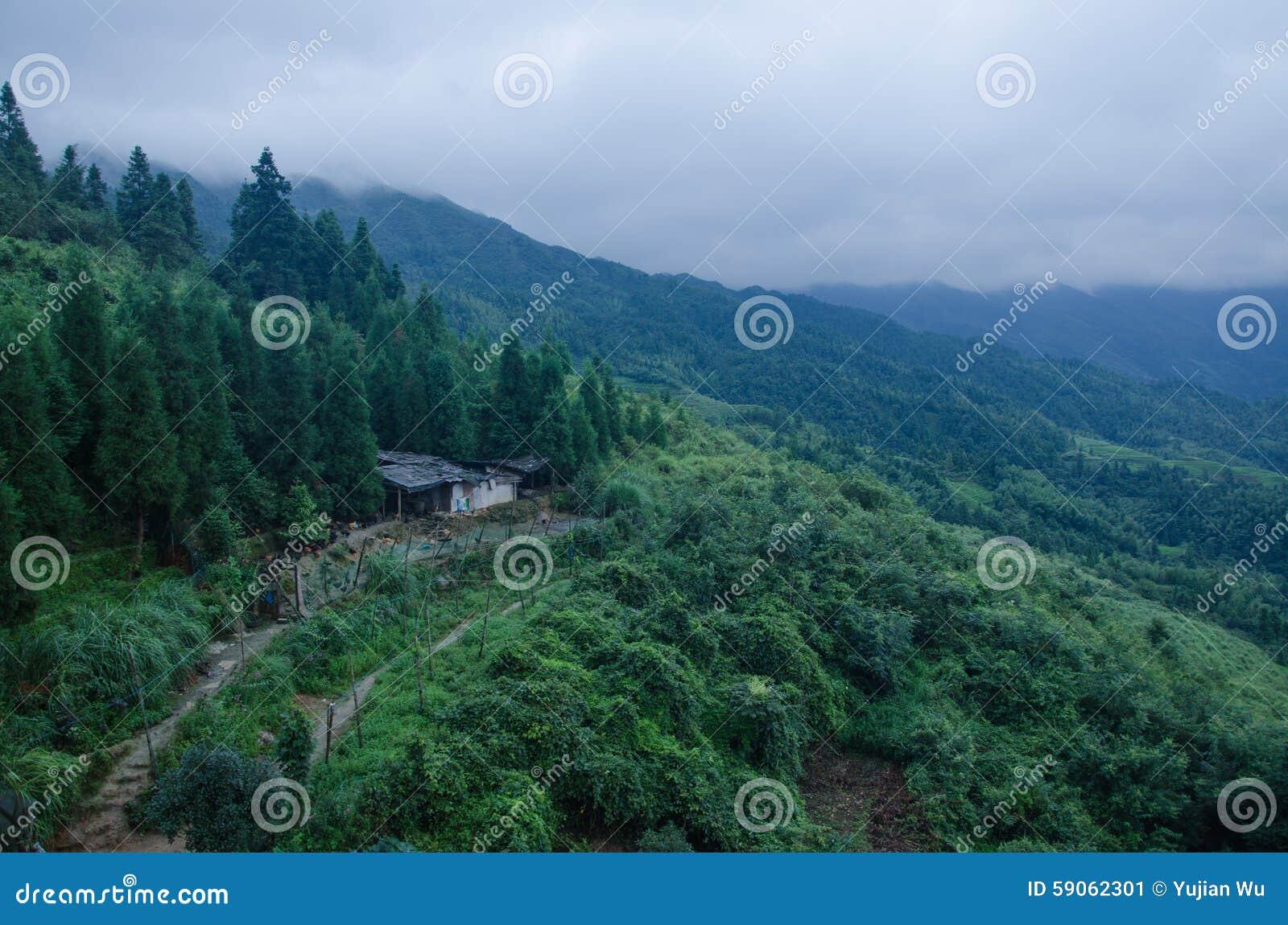 Longsheng län av för Longji för Guangxi landskapkines sceniskt område terrass