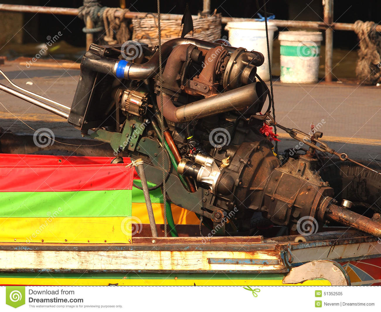 Longtail boat engine stock image  Image of diesel, river