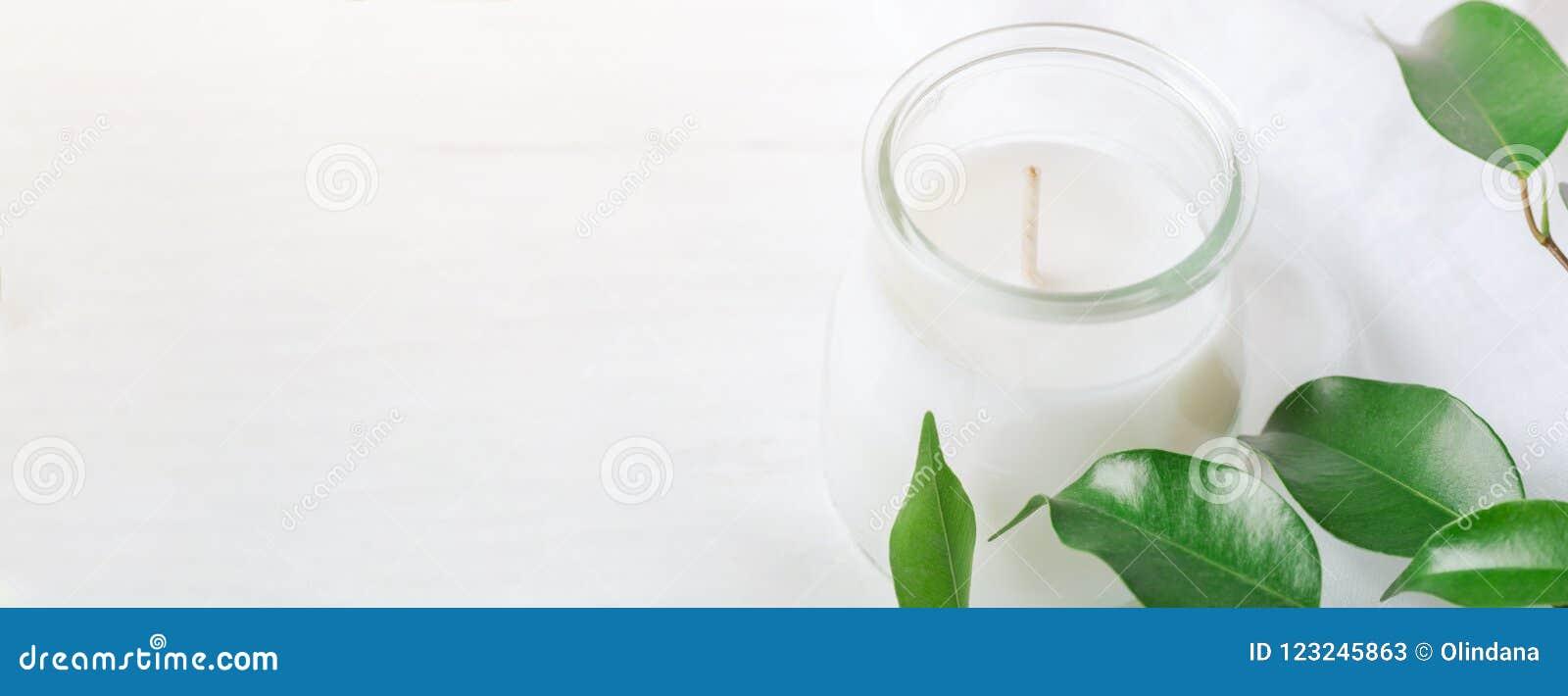 Longue bannière pour la bougie blanche de bien-être organique de cosmétiques dans les branches d arbre fraîches de pot en verre a