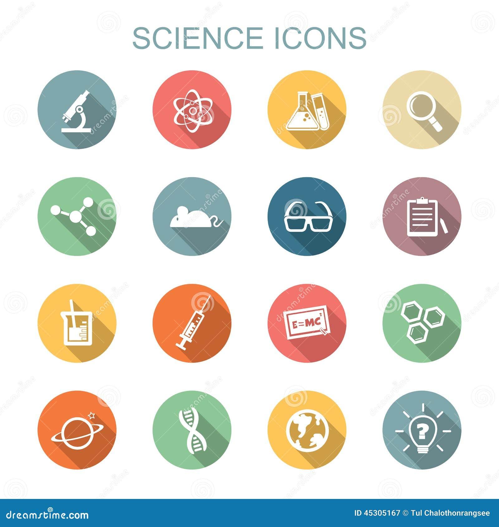 Longues icônes d ombre de la Science