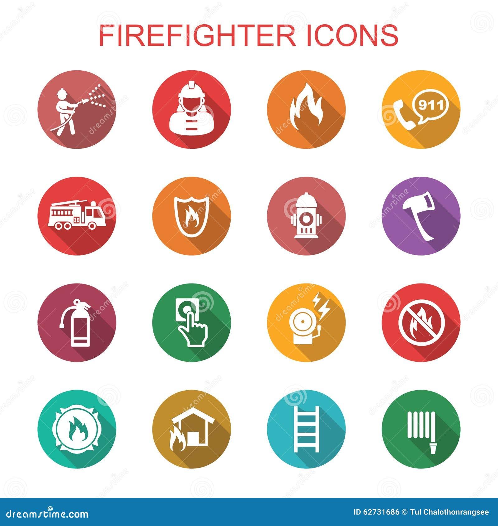 Longues icônes d ombre de sapeur-pompier