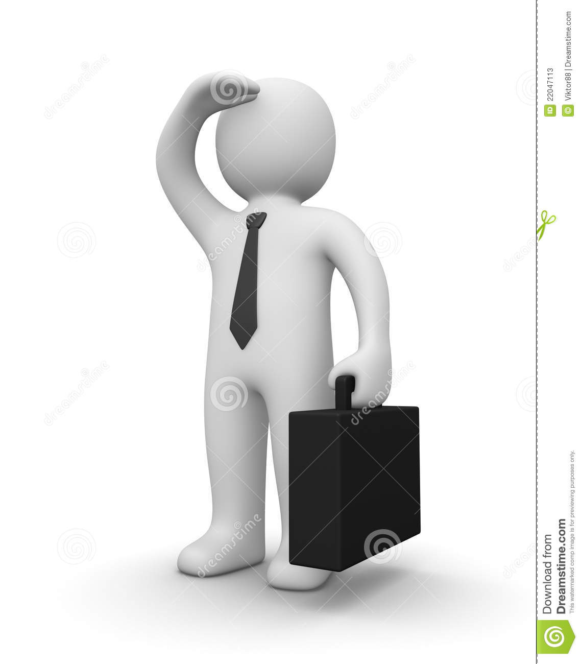 3d man with tie and suitcase looking ahead.