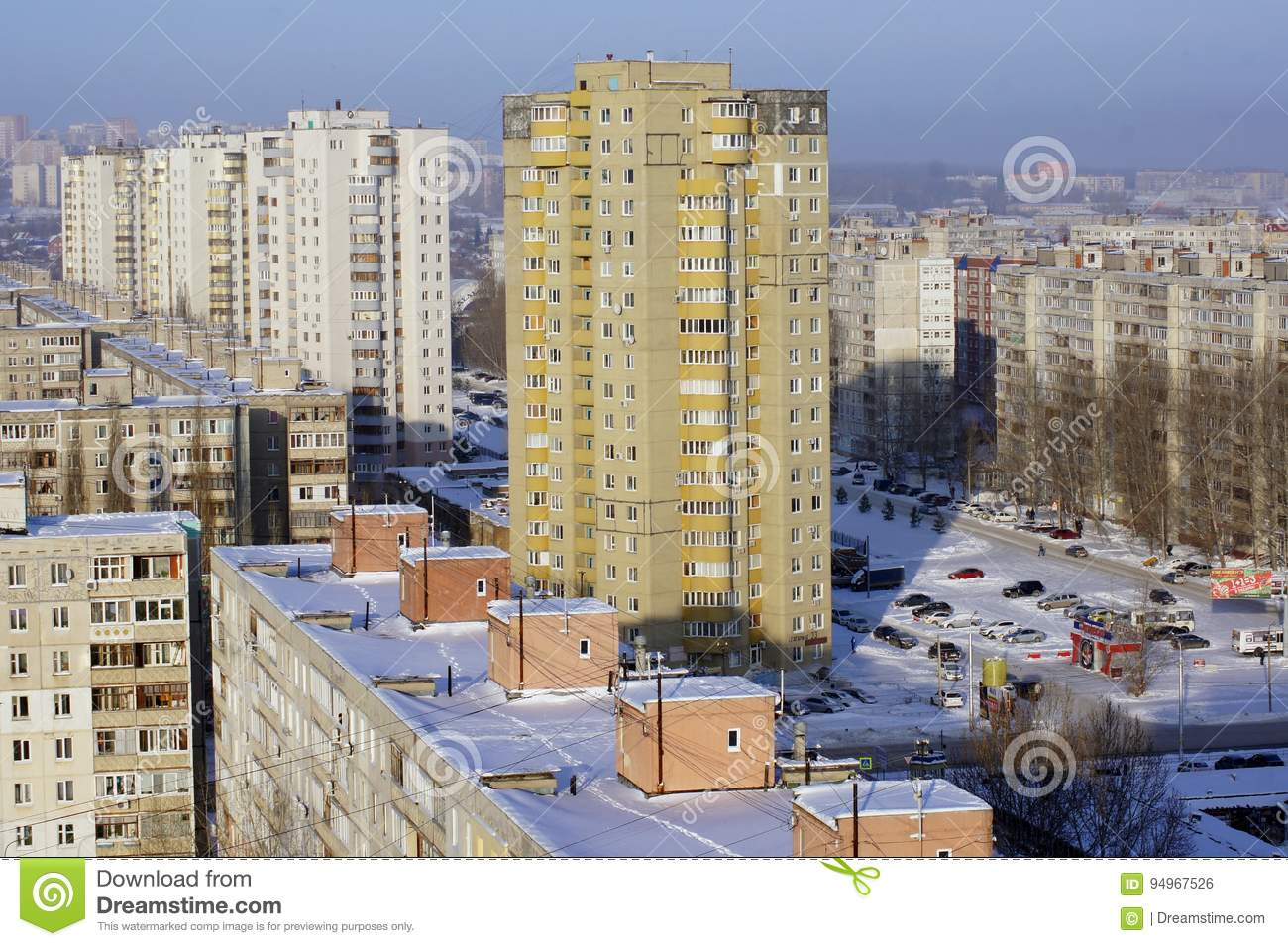 Look Apartment Buildings Ufa Russia Stock Photo Image Of Roof