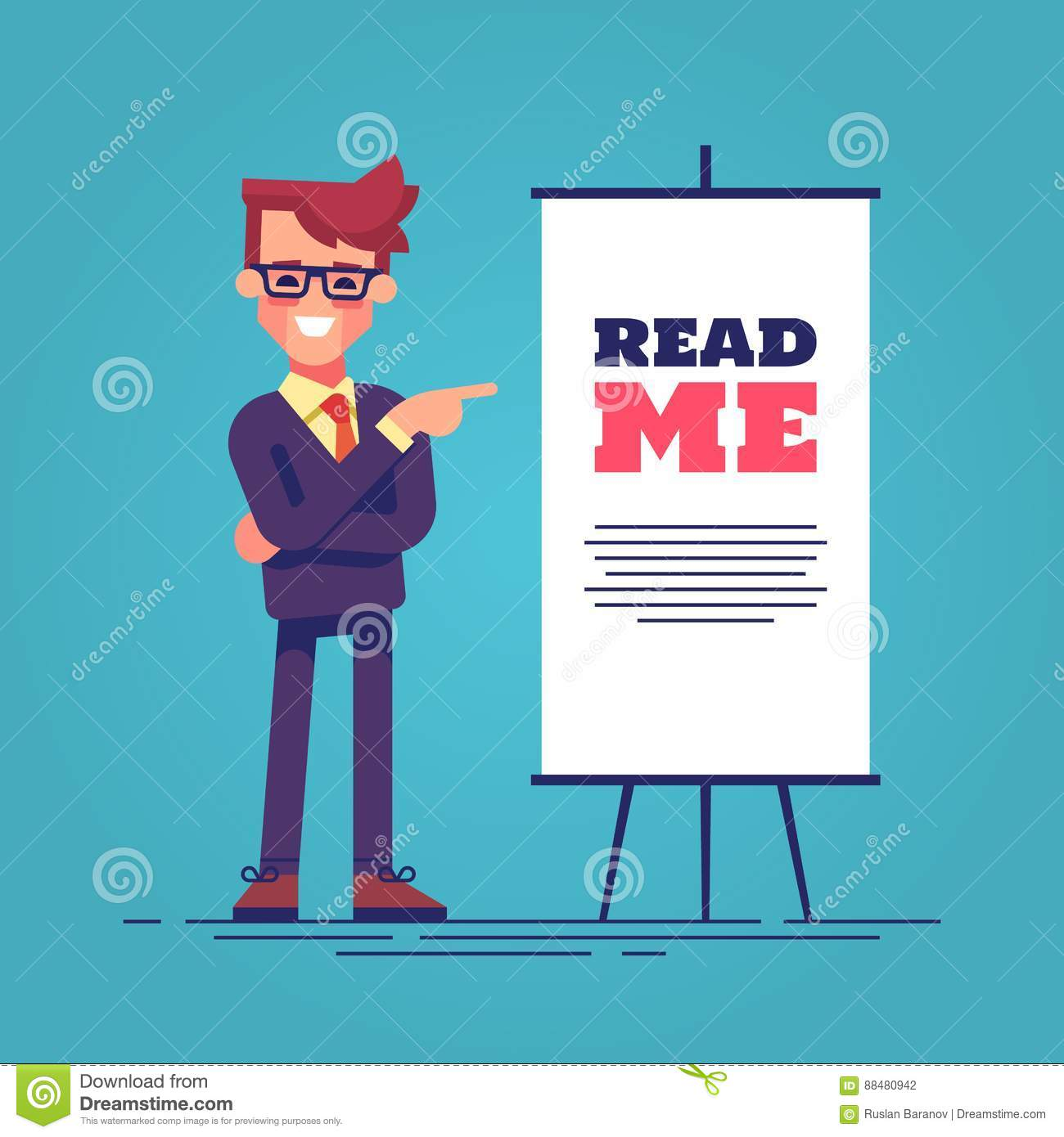 Look here! Happy young handsome businessman in suit pointing to the flipchart with the inscription read me. Vector.