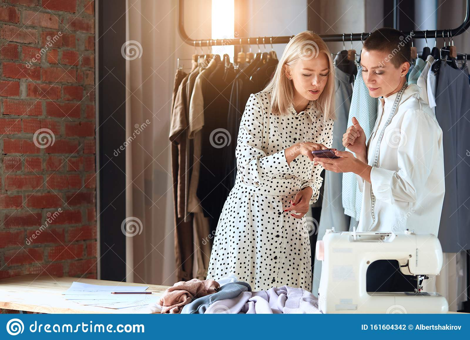 Look Here Young Fashion Designer And Model Look On Telephone Stock Photo Image Of Lifestyle Craft 161604342