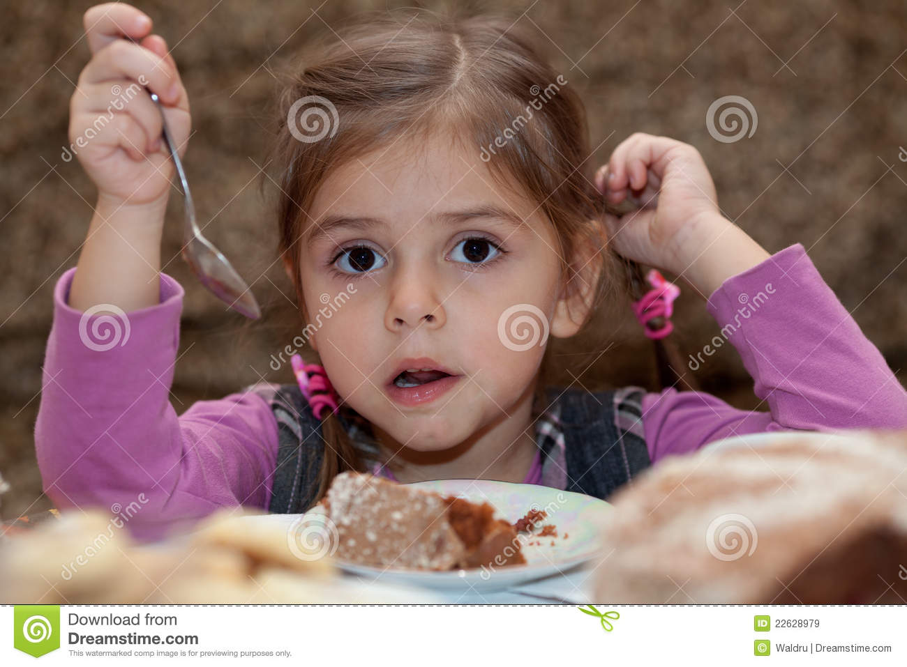 Look Of Little Girl Eating Cake Stock Image Image Of