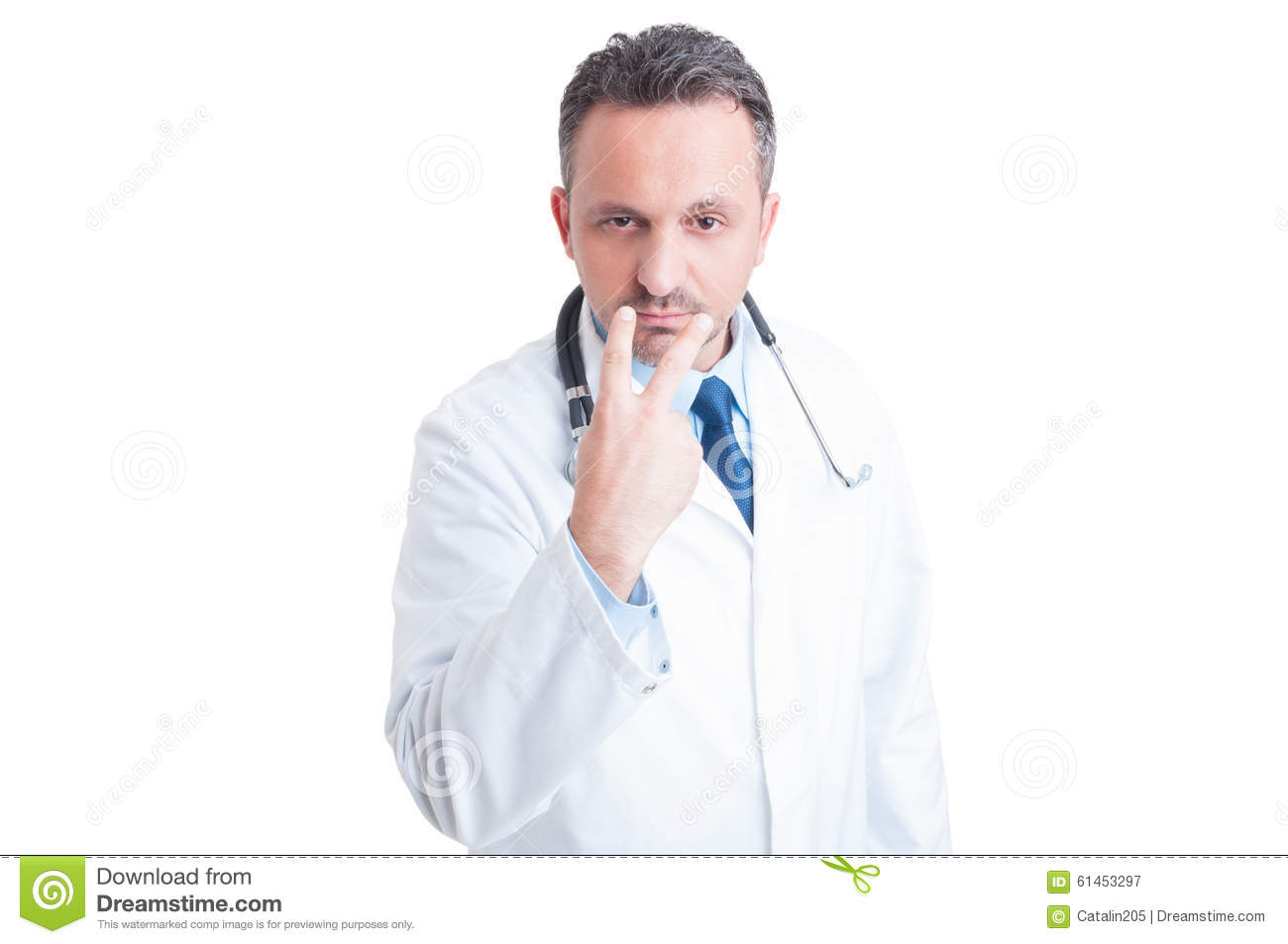 Look Into My Eyes Pay Attention Gesture Made By Doctor Stock Photo ...