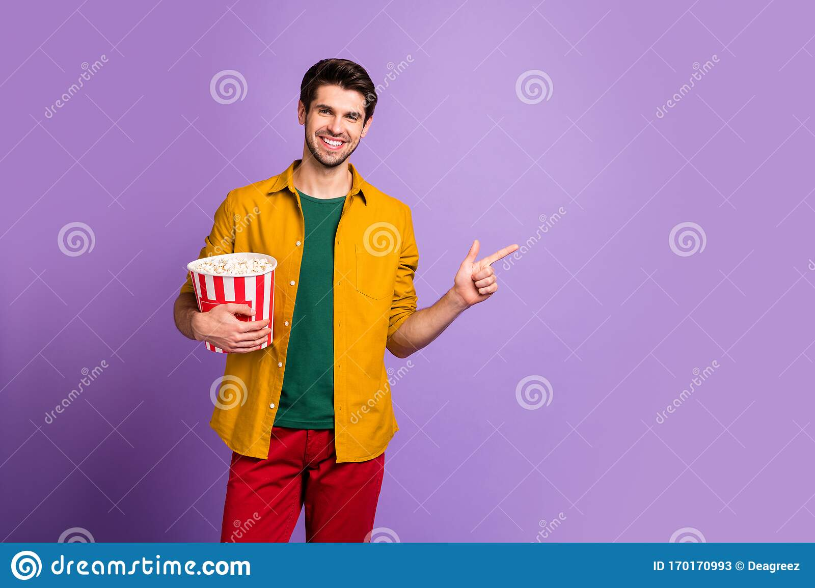Look New Cinema Film Portrait Of Positive Guy Hold Big Pop Corn Box Point Index Finger Copy Space Recommend Movie Stock Image Image Of Casual Food 170170993