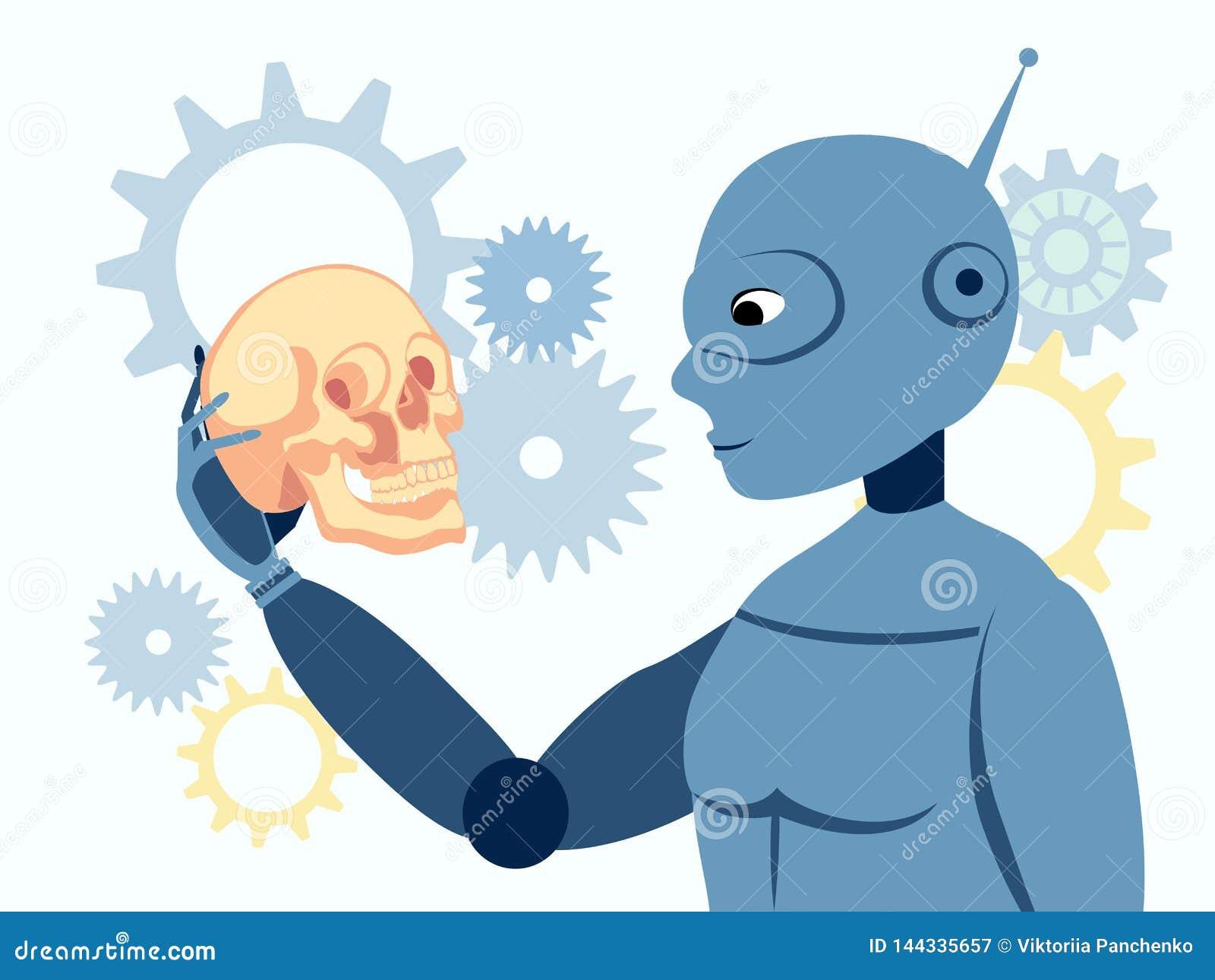 Look, the robot is holding a human skull. Flat in minimalist style. Cartoon vector