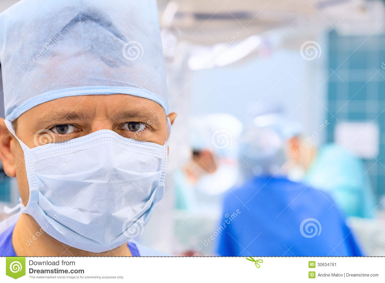 Look of surgeon in operation room