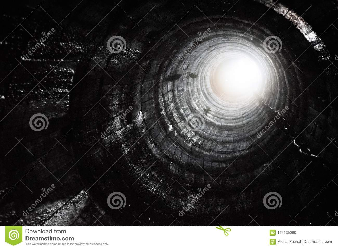 Look up from a mining hole