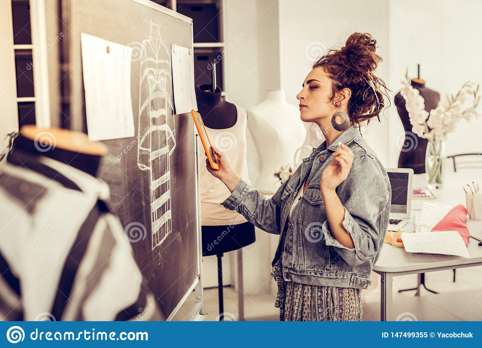 Fashion Designer Bethinking The Details Of A New Dress Stock Image Image Of Sketching Caucasian 147499355