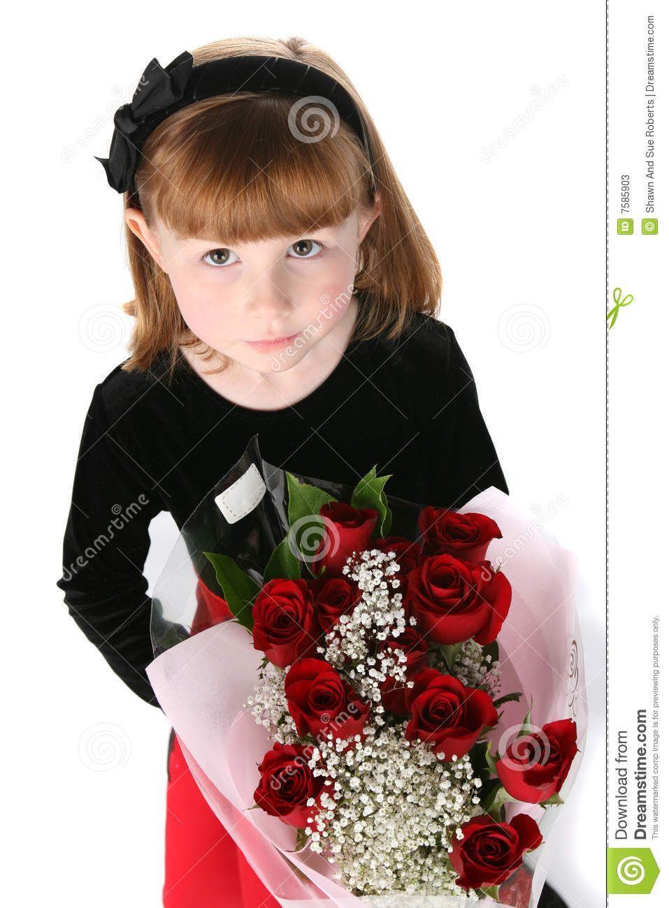 looking down on a cute little girl with red roses stock image image of high dress 7585903. Black Bedroom Furniture Sets. Home Design Ideas