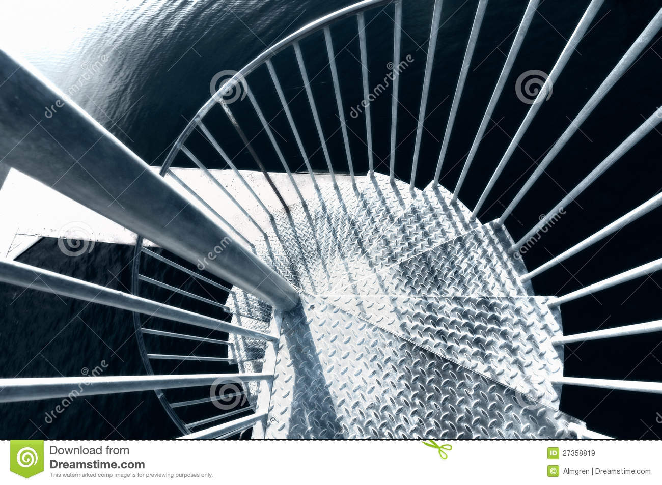 Looking down a metal spiral staircase stock image image for Aluminum spiral staircase prices