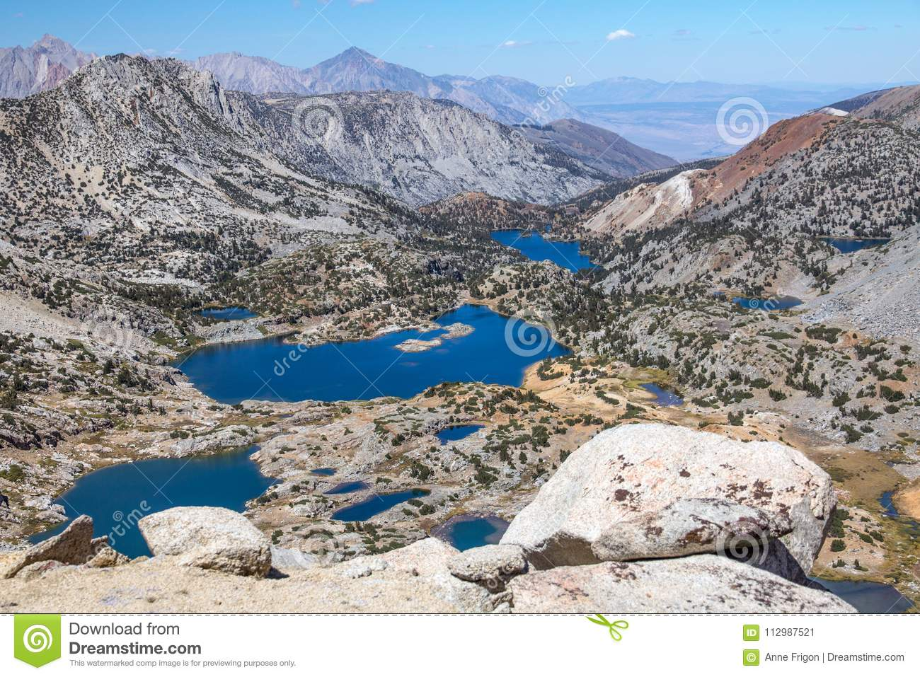 Eastern Sierra lakes from high on Bishop Pass trail, CA