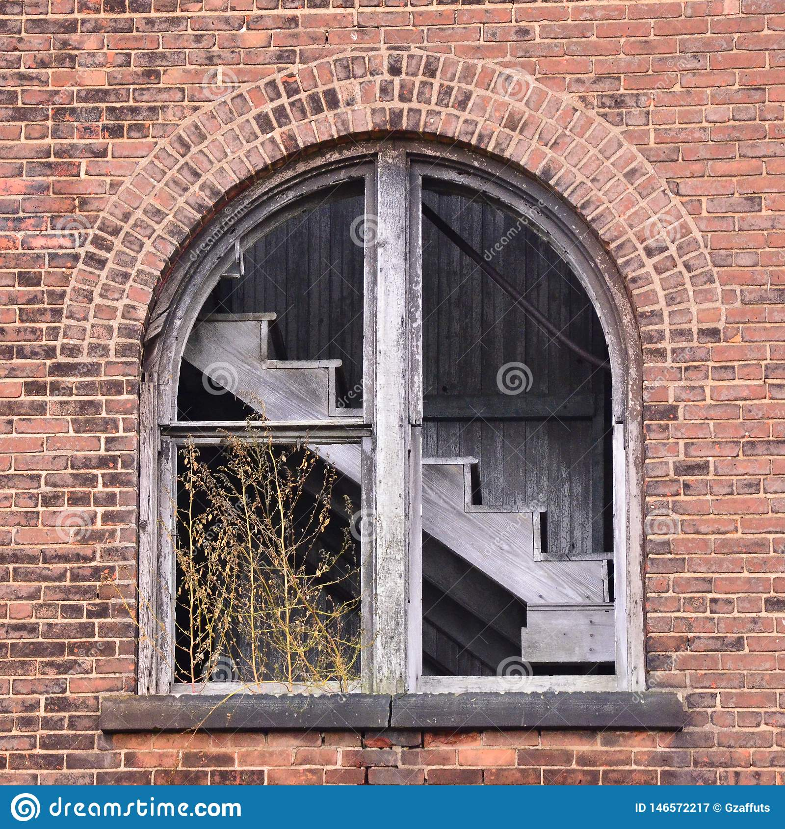 View of abandoned factory staircase