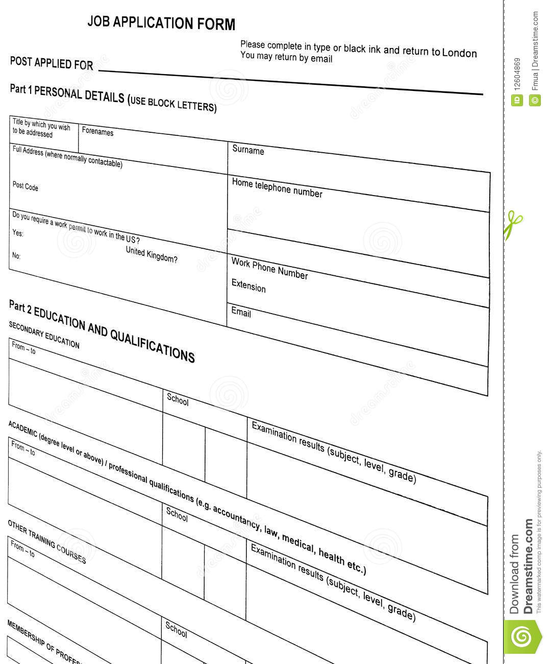 looking for job  resume blank form  isolated  stock