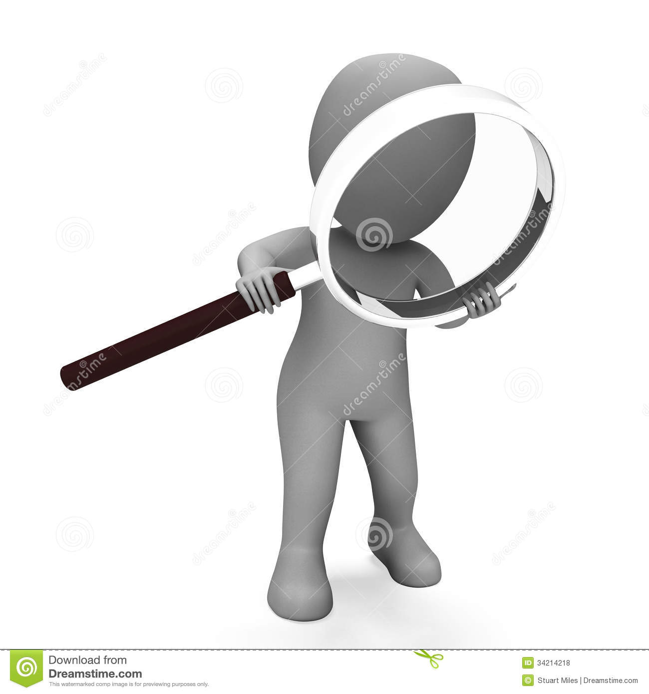Looking Magnifier Character Shows Examining Scrutinize And