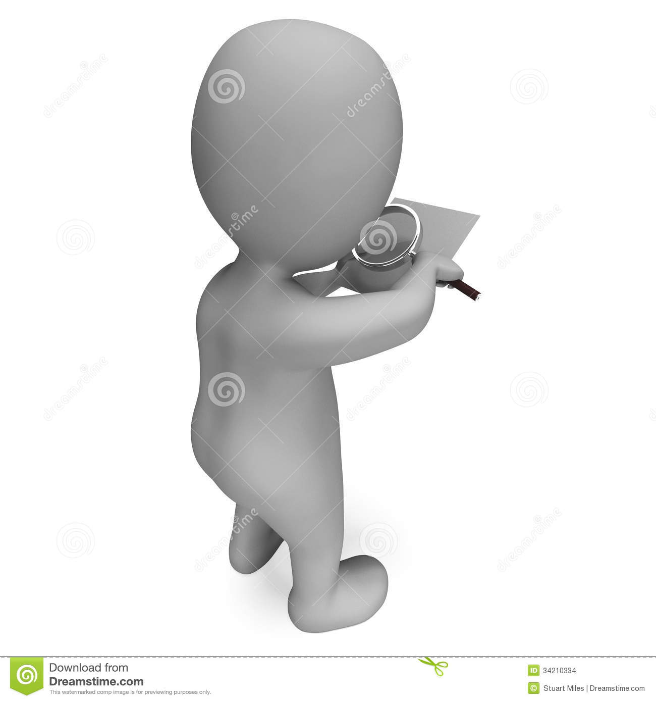 Looking Magnifier Document Character