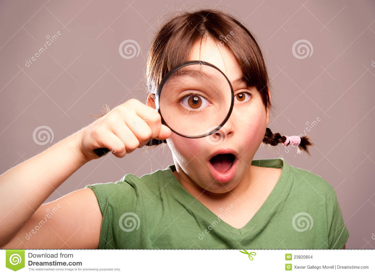Looking Through Magnifying Glass Stock Images
