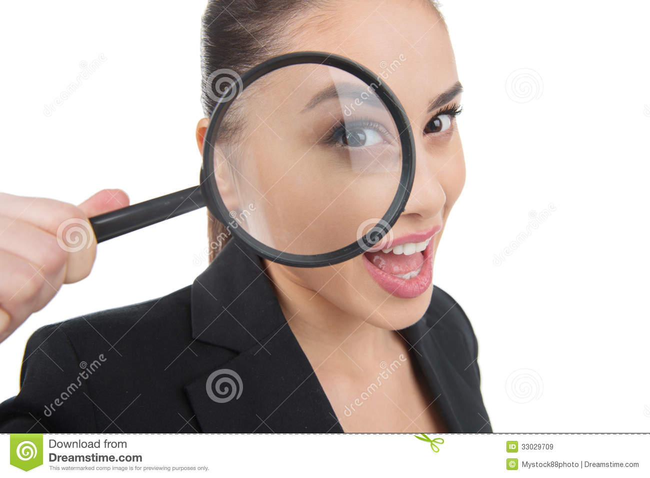 Looking Through Magnifying Glass. Royalty Free Stock