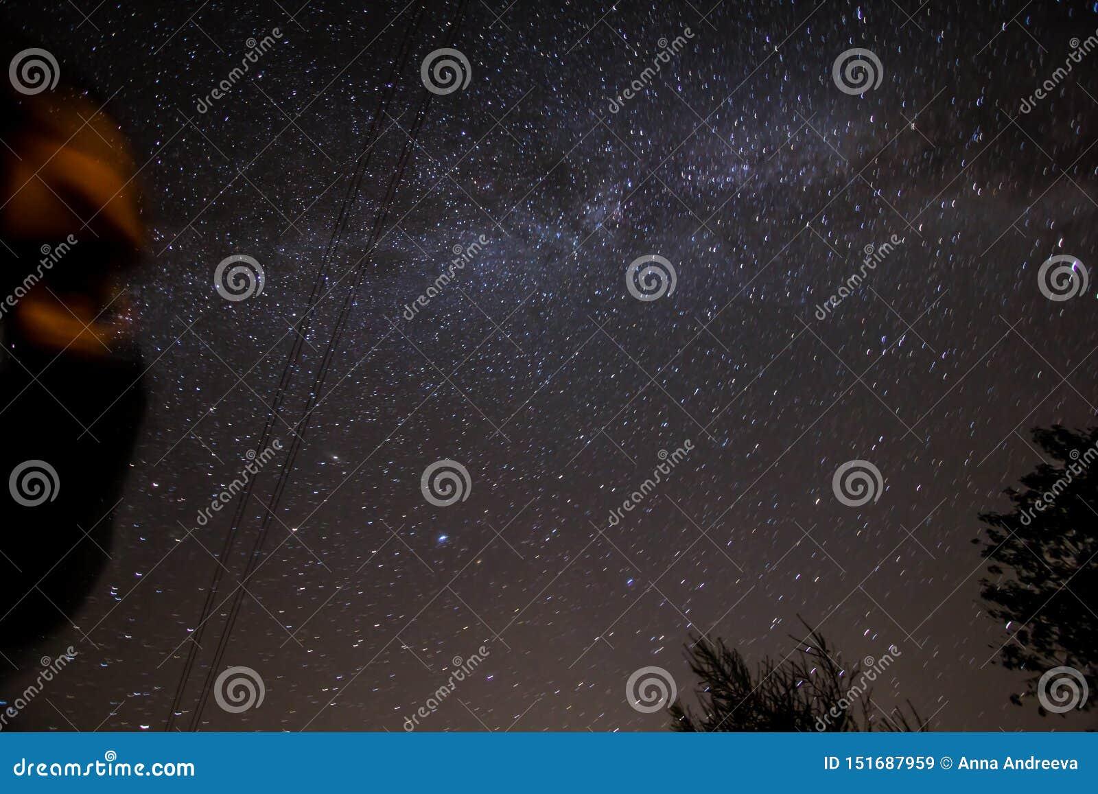 Looking at starry night sky, stars panorama