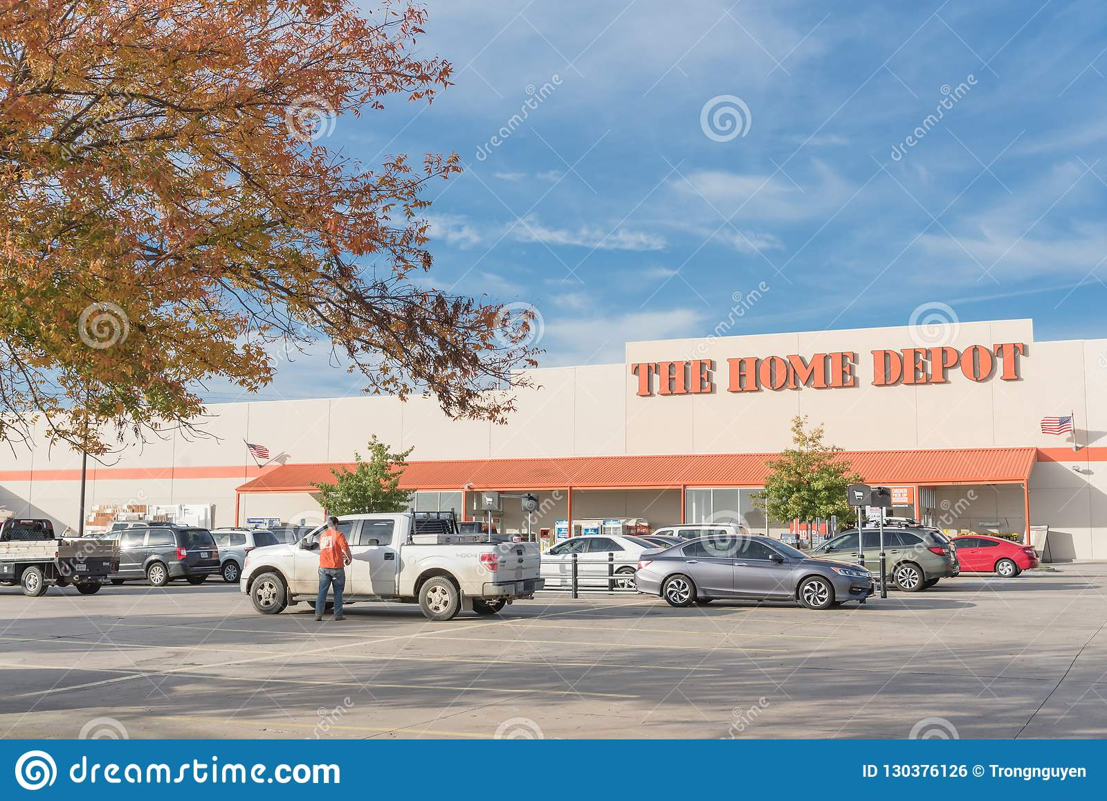 Looking To Home Depot Entrance From Parking Lots With Colorful A
