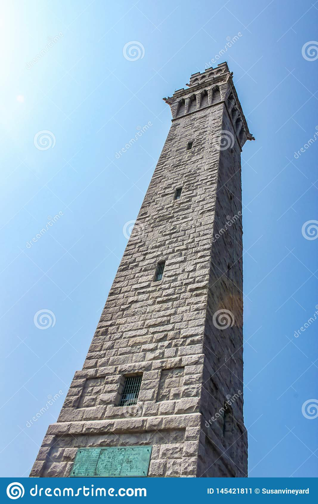 Looking up at the Pilgrim Monument in Provincetown Cape Cod that commemorates the Mayflower Pilgrims first landing in the New