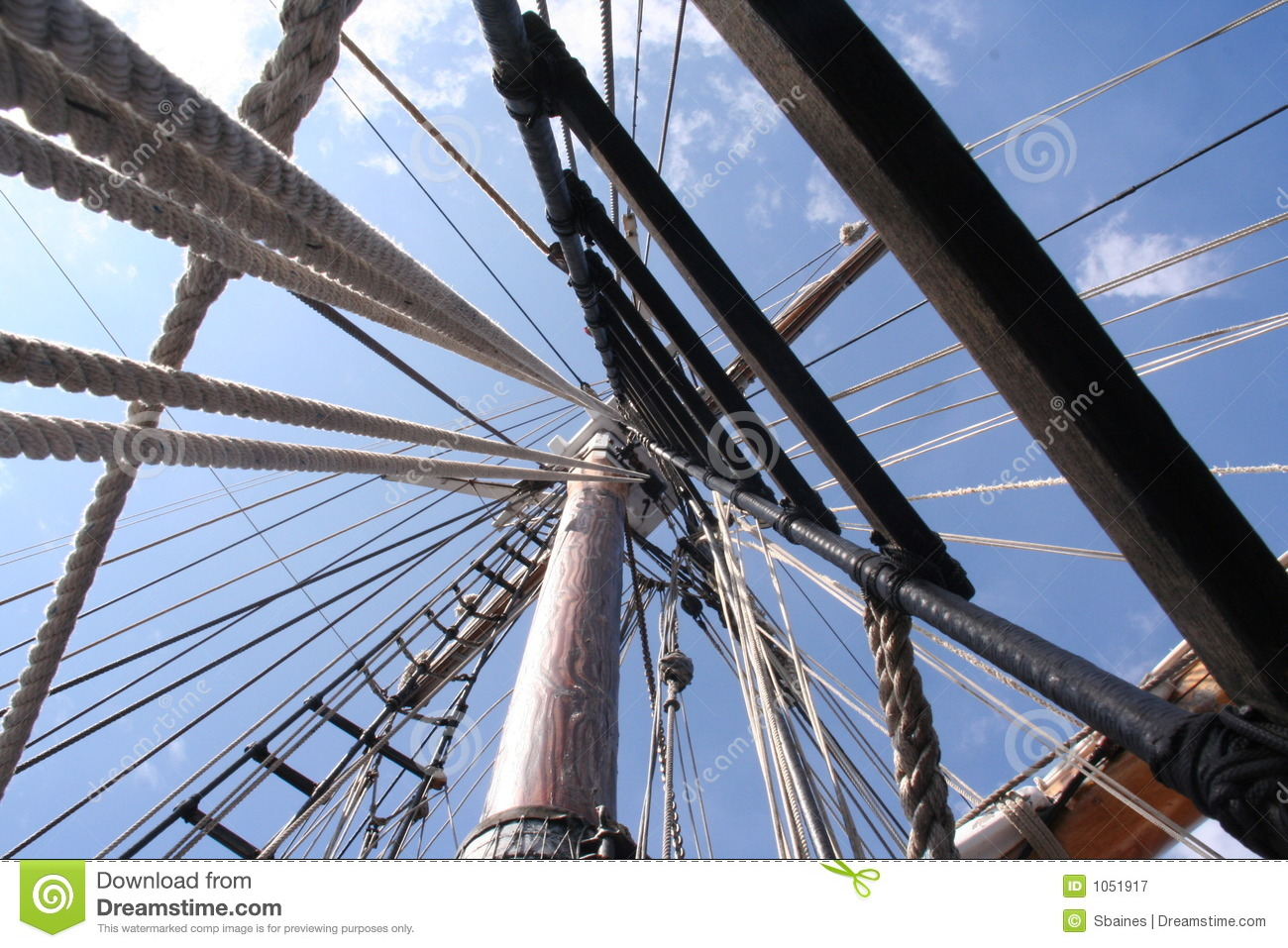 Looking Up Sailing Ship Mast Into The Rigging Strong