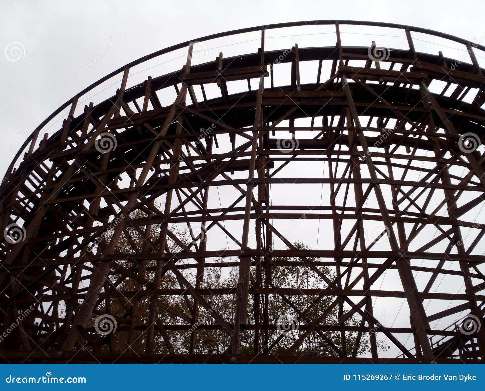 Looking upward at Wooden Rollercoaster