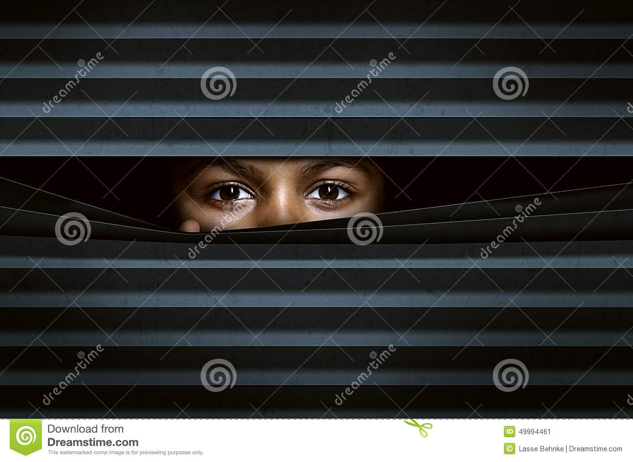 Looking Through Window Blinds Stock Photo Image 49994461