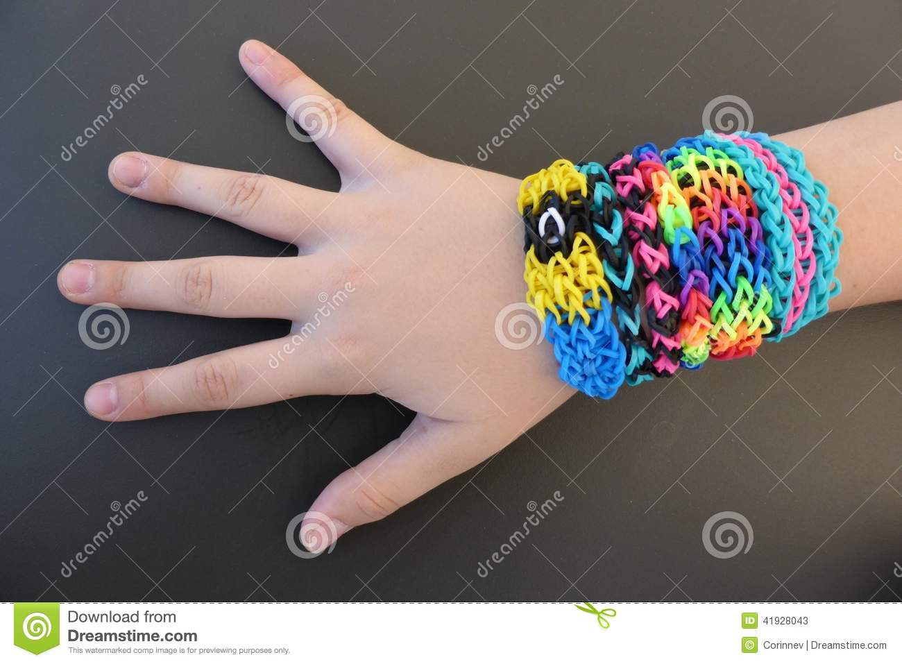 Loom Band Bracelets On A Young Girl\'s Arm Stock Image - Image of ...