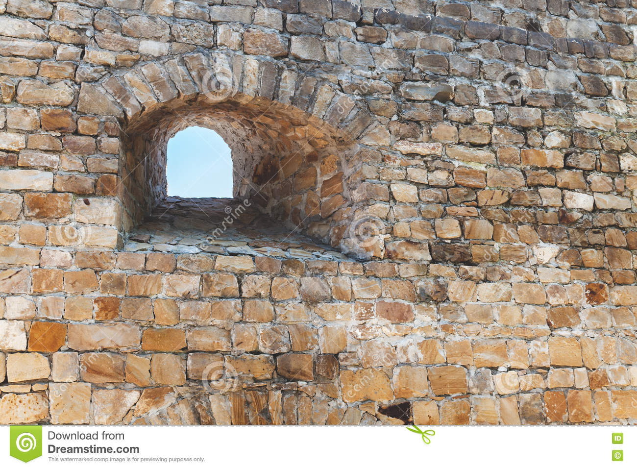 Loophole in wall of ancient fortress stock photo image for How thick is granite
