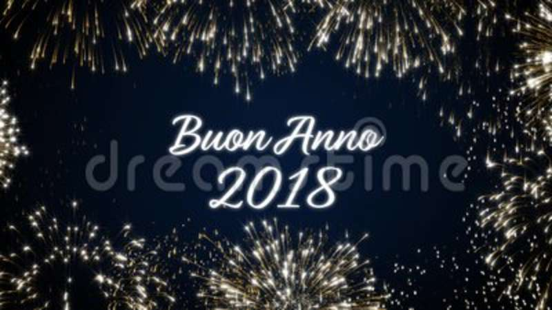 looping happy new year 2018 social post card with gold animated fireworks on elegant black and blue backgroundloop stock footage video of colorful