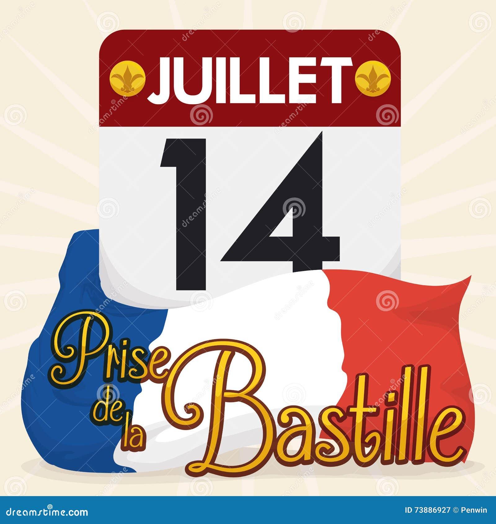 Event Calendar Illustration : Loose leaf calendar with bastille date event vector